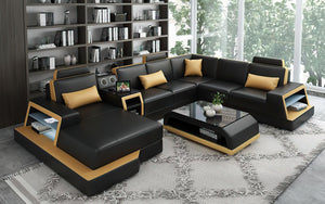 Civia Modern Leather Sectional With Console Table