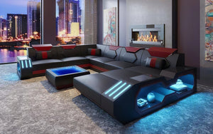 Sahara Modern Leather Sectional with LED Light