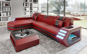 Stebbins Modern Leather Sectional with Chaise