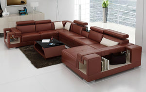 Moore Leather Sectional with Storage