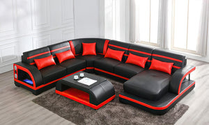 [Valentine's Deal] Grando Modern Sectional with Speaker and LED Lights Right Hand Facing Chaise+ Coffee Table