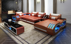Omont Modern Leather Sectional with Console | Futuristic Furniture