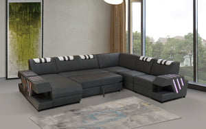 Milky Way 5 Modern Leather Sectional with Adjustable Headrest