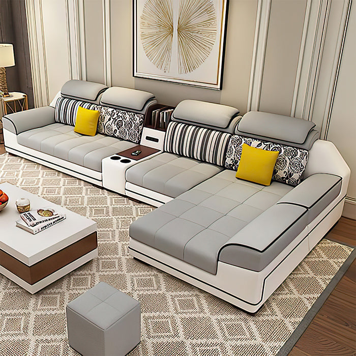 Selena Light Grey & White Small Modular Tufted Sectional