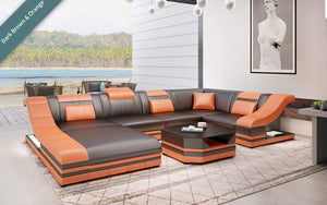 Comet Leather Sectional with LED Light