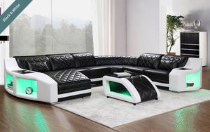 Milky Way 4 Modern Leather Sectional with Shaped Chaise