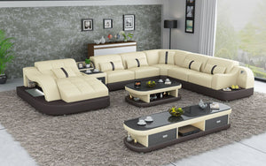 Reversible Corner Leather Sectional with LED Light