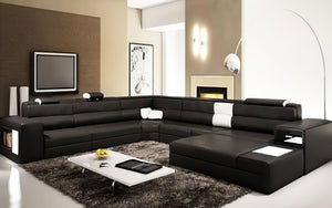 Martinelli Modern Large Leather Sectional With Storage