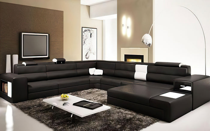 [Customized Color] Black & Grey Martinelli Modern Large Leather Sectional With Storage and Additional USB Port
