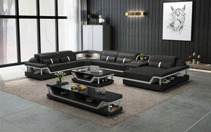 Bewley Modern Leather Sectional With Storage