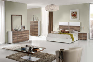 Godiba Italian Modern White & Cherry Bedroom Set