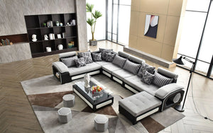 [Daily Deal] Selena Modular Tufted Sectional Light Grey & Black/White - Style A