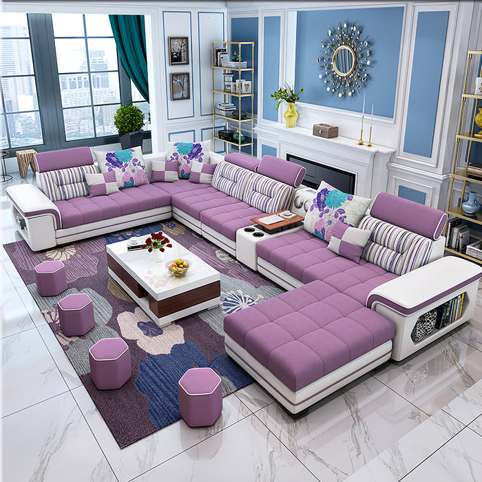 Selena Purple & White Modular Tufted Sectional