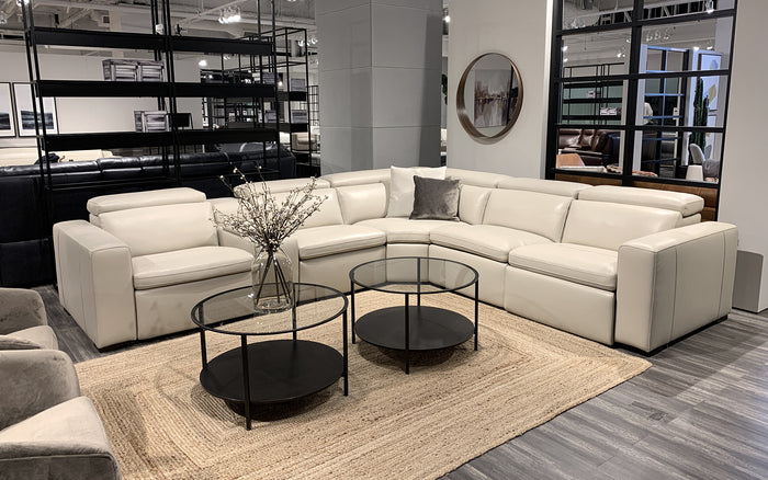 Motique Modern Leather Sectional with Recliner