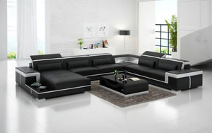 Perrault Leather Sectional with Adjustable Headrest