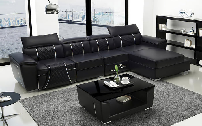 Uli Small Leather Sectional with Chaise