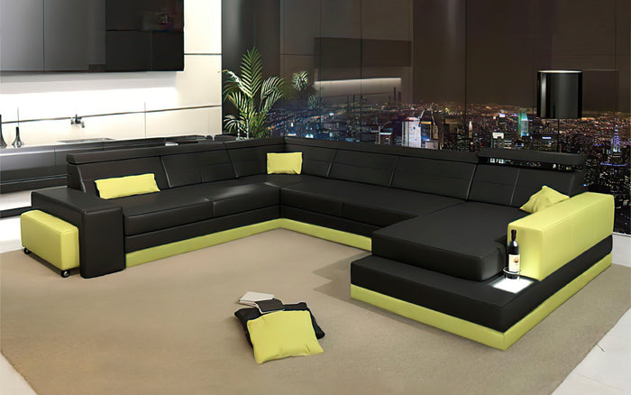 Carsa Modern Leather Sectional with Chaise