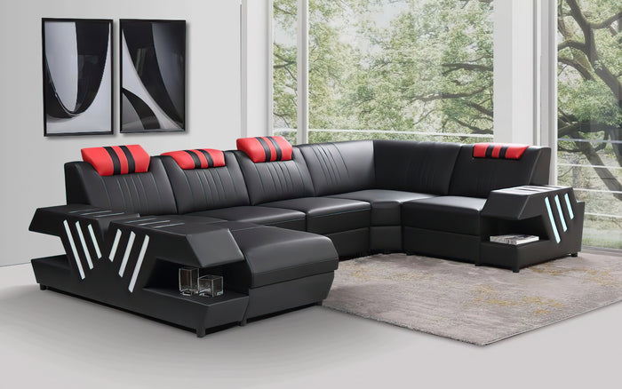 Pluto Leather Sectional with Adjustable Headrest