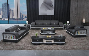 Lorib Leather Sofa Set With Storage