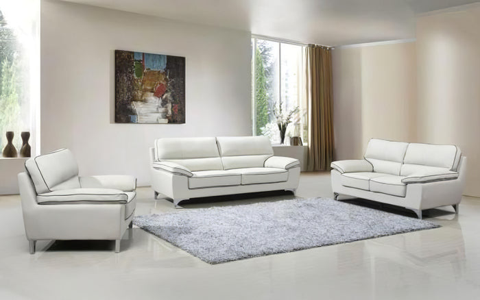 Olidano Leather Light Gray Sofa Set