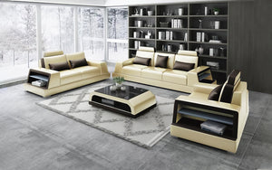 Civia Leather Sofa Set with Side Storage