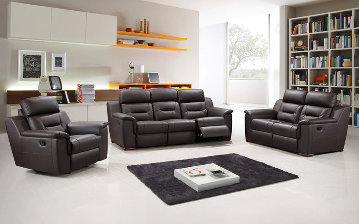 Flalolin Leather Brown Sofa Set