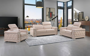Anc Beige Sofa Set with Adjustable Headrest