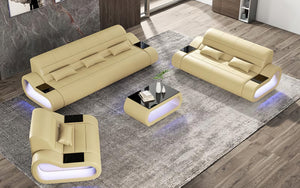 Catina Leather Sofa Set with LED Light