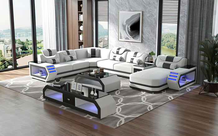 Oject Modern Leather Sectional with LED Light