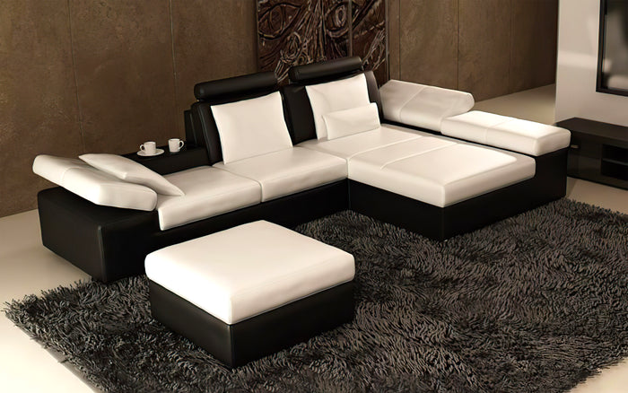 Lindum Mini Modern Leather Sectional with Ottoman