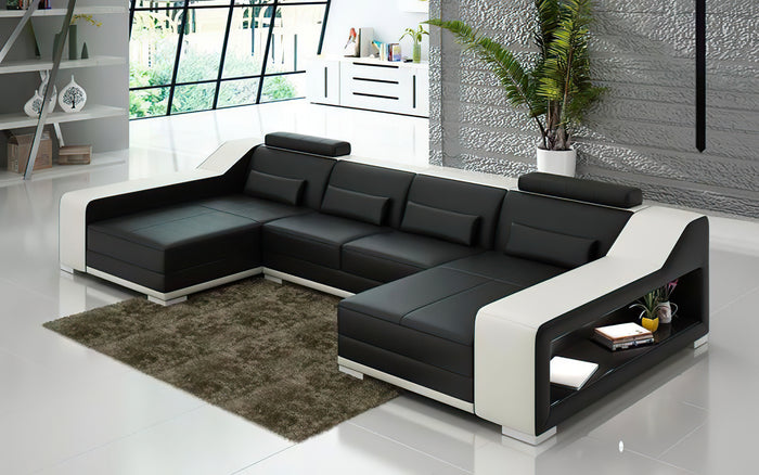 Ibiza Leather U Shape Sectional with Chaise