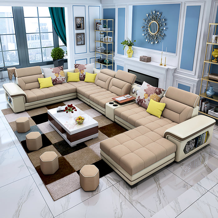 Selena Light Brown & Light Beige Modular Tufted Sectional