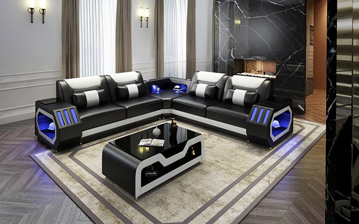 Omont Leather Corner Sectional with LED Light