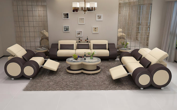 Aetius Modern Leather Sofa Set with Recliner