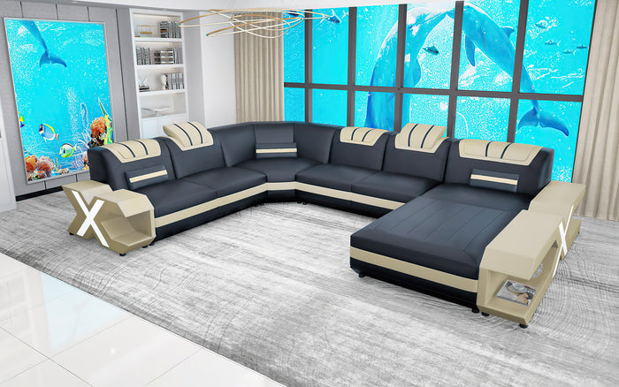 Vanessa Modern Leather U-Shape Sectional