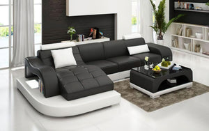 Occasional Small Leather Sectional with Adjustable Headrest