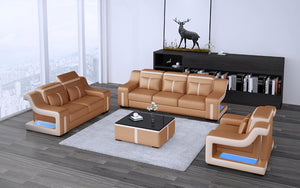 Lisa Leather Sofa Set with LED Light