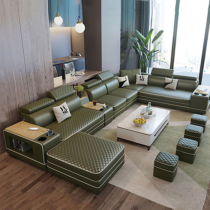 Selena Army Green & White Modular Tufted Sectional