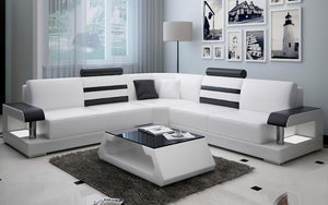 Norba Modern Leather Sectional with LED Light