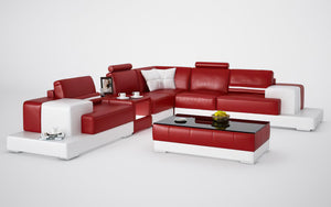 Halsey Modern Leather Sectional with Console Table