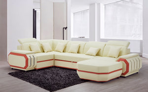 [NEW Arrivall] Univo Modern Leather Sectional with LED Lights With Bed Function
