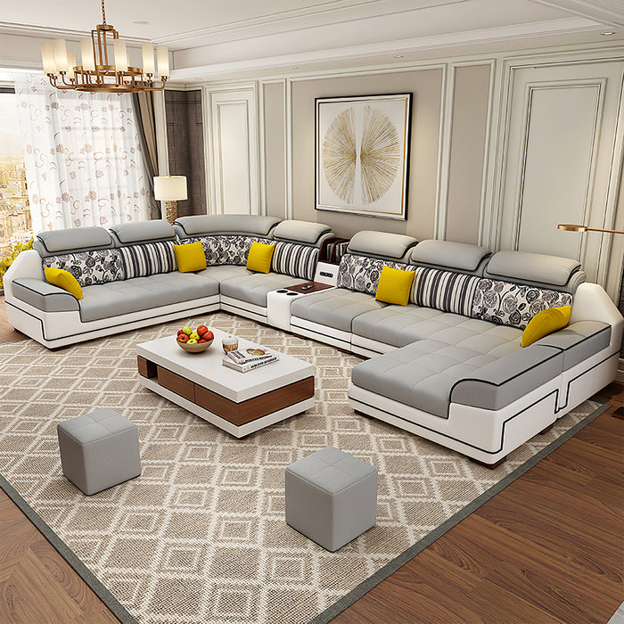 Selena Light Grey & White Modular Tufted Sectional