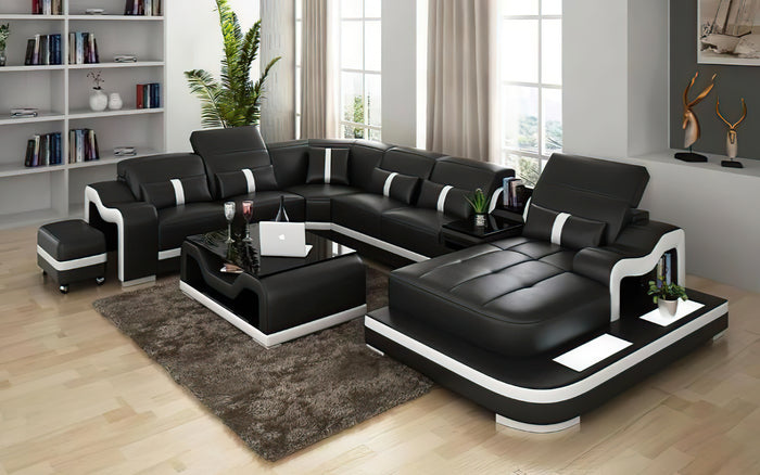 Sydney Large Leather Sectional with Side Table