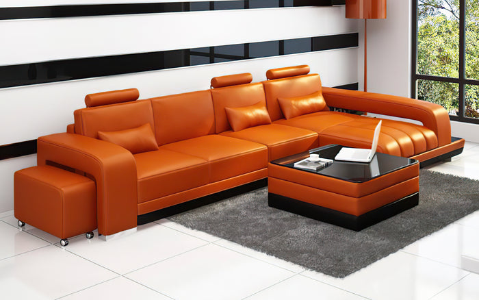 Heather Small Modern Leather Sectional with Chaise