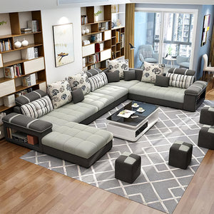 Selena Grey & Dark Grey Modular Tufted Sectional