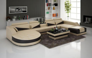 Lilo Leather Sectional with Shape Chaise