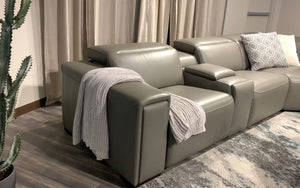 Loybert Modern Leather Sectional with Recliner