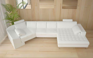 Lyric Small Leather Sectional with Tufted Chaise