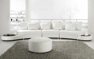 Piper Modern Leather Sectional with Ottoman