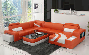 Lawrence Leather Sectional With Ottoman